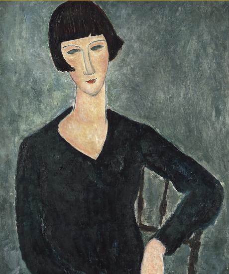 Amedeo Modigliani, Femme assise à la robe bleue, 1917- 1919. Moderna Museet, Stockholm.  Photo : Moderna Museet, Stockholm © DR