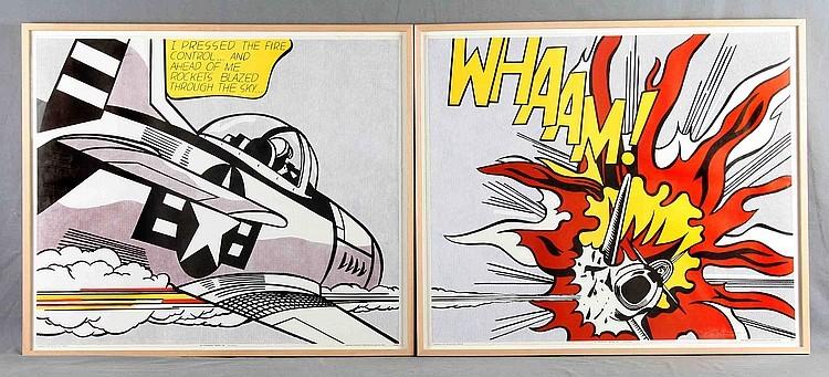 """ROY LICHTENSTEIN - """"Whaam!"""" (Diptychon), zwei Offset-Farblithografien (1967)"""
