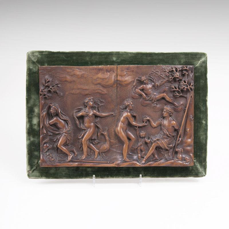 """Seltenes Renaissance-Relief """"Urteil des Paris"""", Buchsbaumholz, Süddeutschland 1. H. 17. Jh."""
