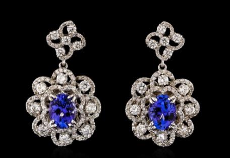 Boucles d'oreilles tanzanite, diamants et or blanc