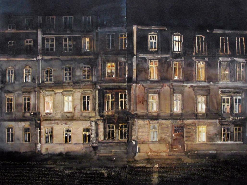 Lars Lerin 'Krakow' 2008. Bild: Nordiska Akvarellmuseet