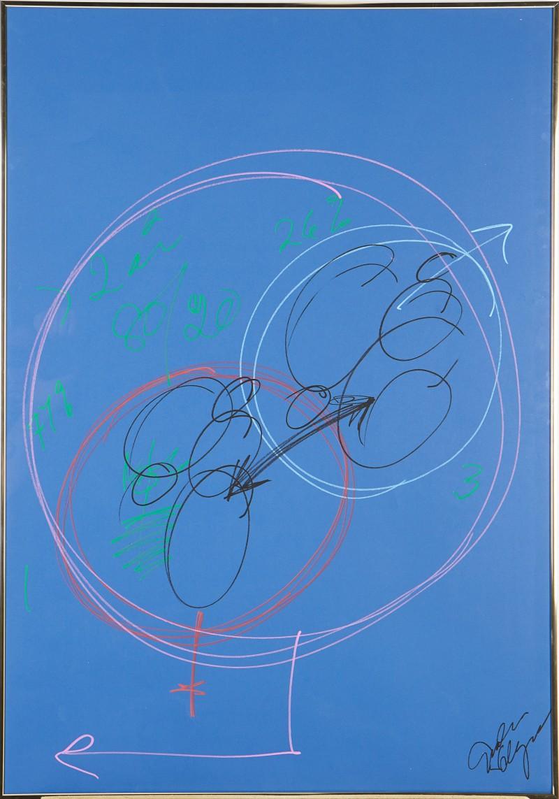 Gudrun Schyman, komposition mot blå bakgrund. Via Stockholms Auktionsverk.