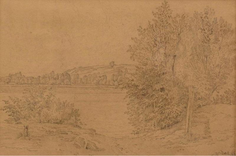 WOLFGANG-ADAM TÖPFFER. Lago con arbustos y árboles