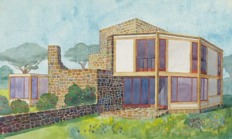Akvarellskiss över ett hus, Josef Frank.