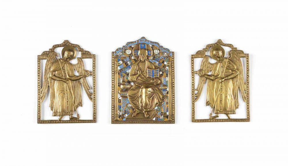 Seltene dreiteilige Engels-Deesis, Bronze, Emaille, Russland 19. Jh.