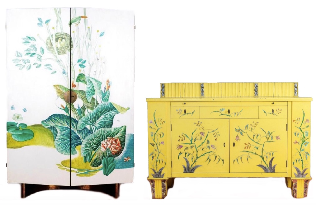 Links: ANTON POSPISCHIL - Bemalter Holzschrank, Fuß mit Metallverkleidung, Wien 1. Hälfte 20. Jh. Rechts: DAGOBERT PECHE (zugeschrieben) - Anrichte/Buffet, Weichholz, lackiert, Schnitzarbeit, Wiener Werkstätte um 1920