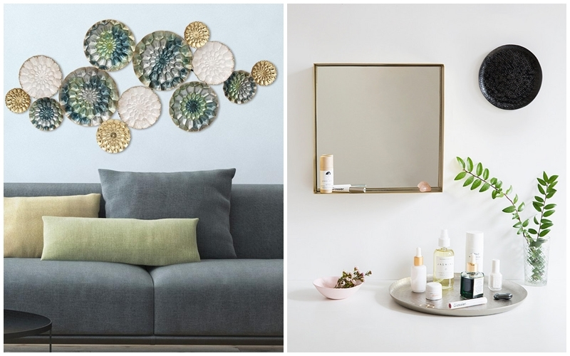 Left: Let multicolored metal circles decorate the wall. Photo via: homedepot.com. Right: The decoration trend in metal. Photo via: Domino Magazine.