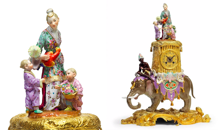 """Meissen, """"Elephant with Mohr, bronze-dore pedestal, clock tower and watch case and Japanese mother with parrot and 2 children"""", 1860-80 