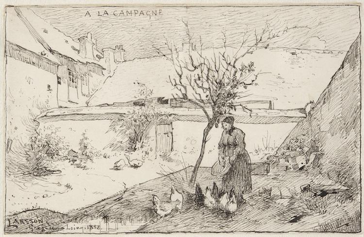 """Die Zeichnung """"A la Campagne"""" ist in der Sammlung des Nationalmuseums Stockholm. Im Hintergrund ist die Pension Laurent zu erkennen, in der der Künstler wohnte."""