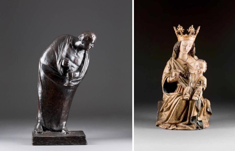 Links: ERNST BARLACH (1870 Wedel - 1938 Rostock) - Der Einsame, Bronze, dunkel patiniert, bezeichnet Rechts: Madonna mit dem Christuskind, geschnitztes Lindenholz, bemalt und teilvergoldet, Süddeutschland oder Österreich, um 1450/1480