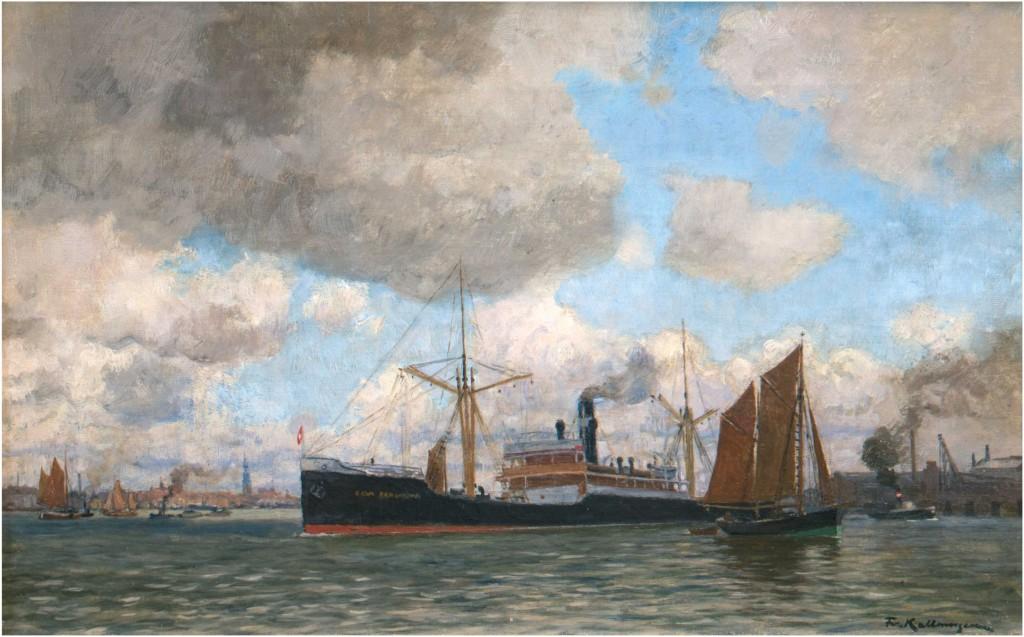 FRIEDRICH KALLMORGEN (1856 Altona-1924 Grötzingen) - Hamburger Hafen, Öl/Lwd., 31x50 cm, signiert, um 1923 Limitpreis: 1.000 EUR