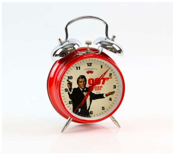 James Bond, 'A View To A Kill' 1985 Zeon Metal Alarm Clock. Photo: Ewbank's