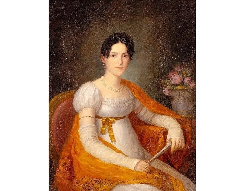 AGUSTÍN ESTEVE Y MARQUÉS, Retrato de joven dama con abanico (entre 1800-1805)