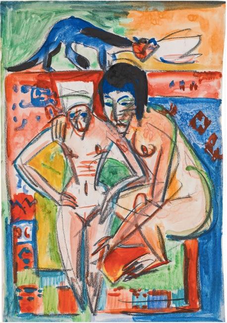 ERNST LUDWIG KIRCHNER (Aschaffenburg 1880-1938 Frauenkirch bei Davos) - Nackte Frau und Mädchen (wohl Anna Müller), Aquarell, Kreide/Papier, 49,8x33,9 cm, signiert, um 1925 Schätzpreis: 100.000-200.000 EUR