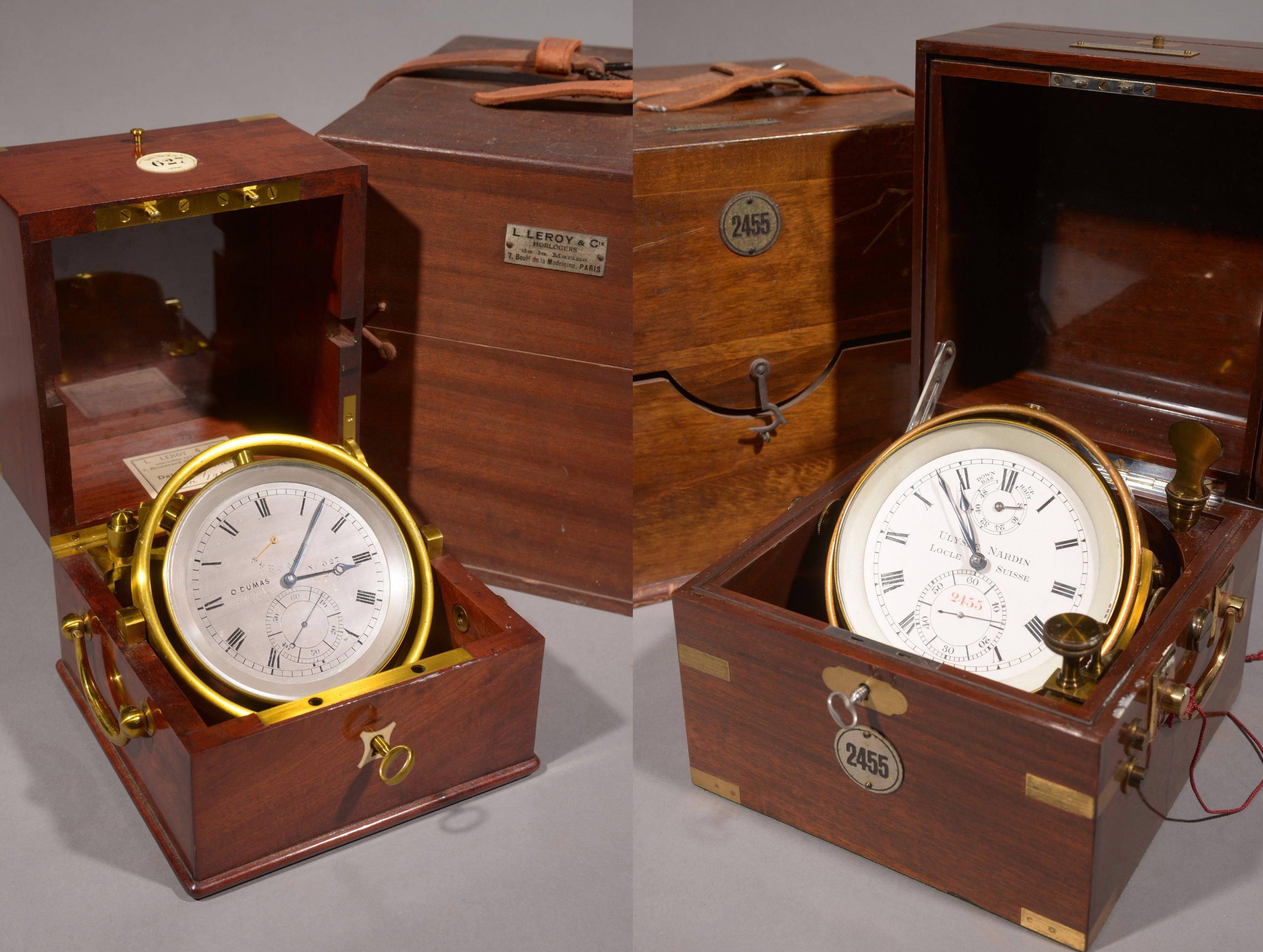 Chronomètres de marine, gauche : O. DUMAS, droite : Ulysse Nardin, images ©HVMC