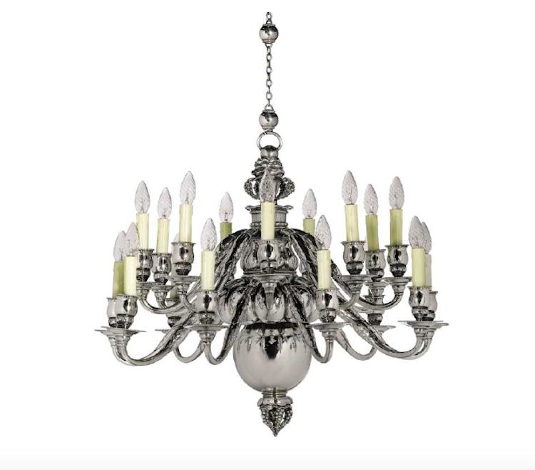 GEORG JENSEN. An important 18 light Danish Sterling Silver chandelier, 1920. Estimate $244,440 — $325,920. Photo via Sotheby's