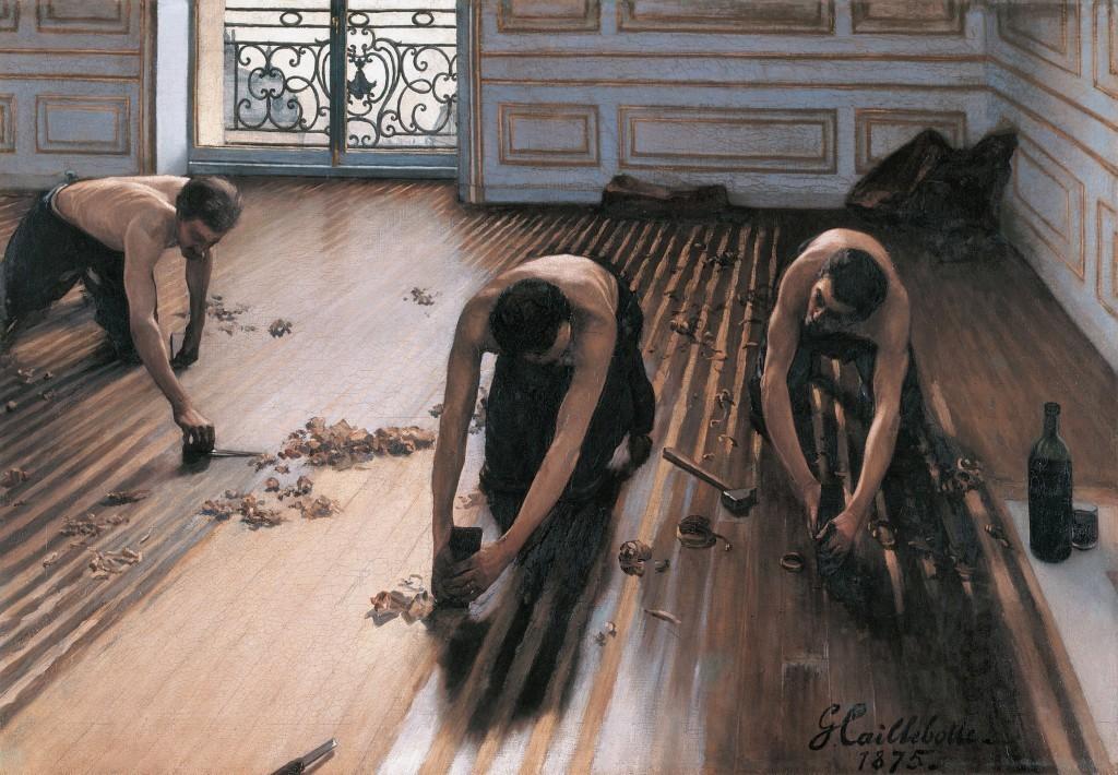 古斯塔夫·卡耶博特, Les Raboteurs de Parquet, 1875年巴黎奧賽博物館