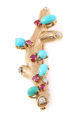Broche 1950 turquoises, rubis, diamants or jaune Les Pierres de Julie