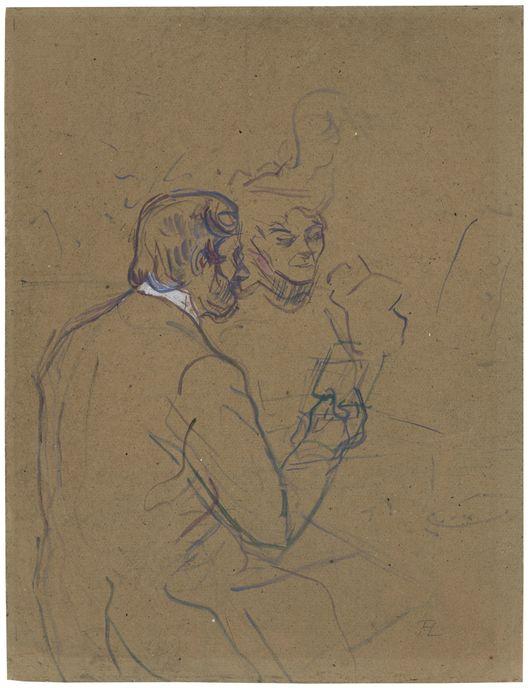 HENRI DE TOULOUSE-LAUTREC (1864 Albi – 1901 Malromé) - Snobisme ou Chez Larue, Öl/Karton, monogrammiert, 1897