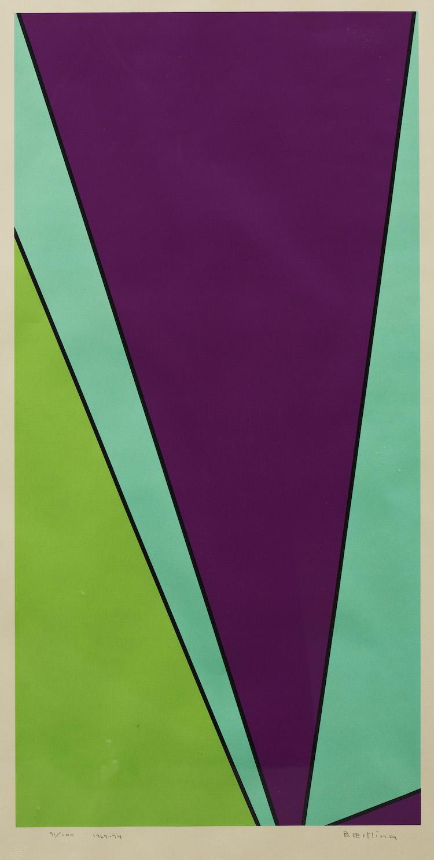 """Olle Baertling 1911‑1981. """"Yuak"""". Signerad och daterad Baertling 1969‑74 samt numrerad 91/100. Färgserigrafi, I. 44 x 85, S. 74 x 108. Utrop: 12,000-15,000 sek. Uppsala Auktionskammare"""