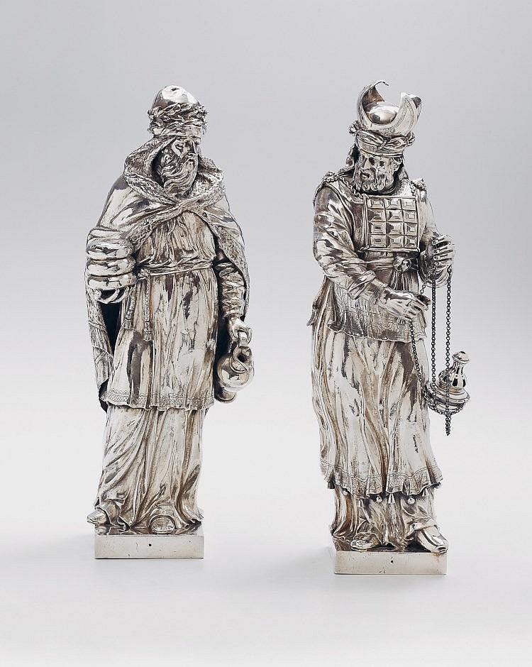 An important pair of Dutch silver sculptures