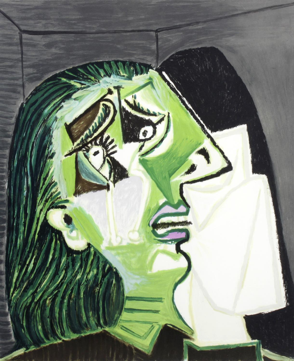"""After Pablo Picasso, (1881-1973), Femme au Mouchoir, ('Weeping Woman'), after the 1937 original, a 'Picasso Estate Collection' print published 1979-1982 by authorisation of Marina Picasso, granddaughter of the artist, a coloured lithograph by Laurent Marcel Salinas on Arches paper, artist's proof (numbered in pencil AP26, from an edition of 34 and a subsequent edition of 500), with blindstamp lower left, inscribed in pencil lower right 'Collection Marina Picasso', image size 21"""" x 17.5"""", (53cm x 44.5cm), in card mount and glazed black gallery frame."""