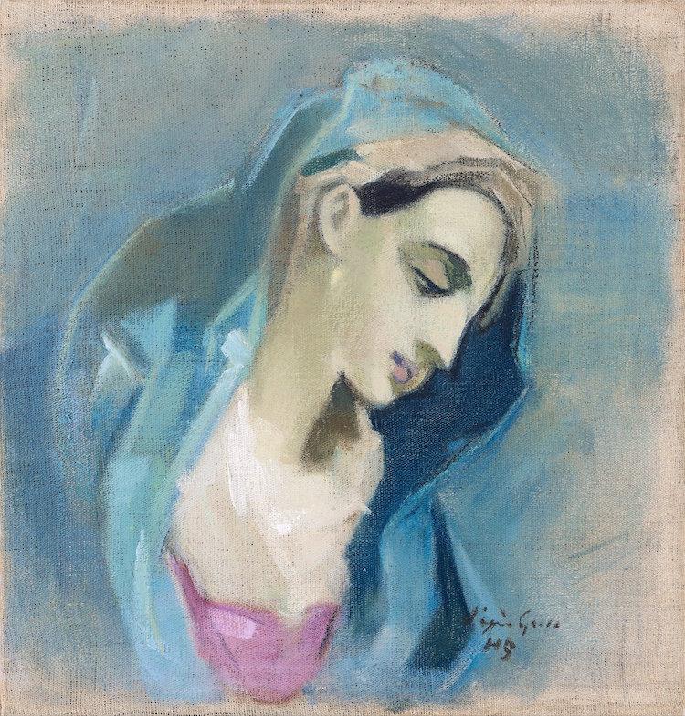 """Helene Schjerfbecks fantastiska målningen """"Blå Madonna"""" klubbades för mångmiljonbelopp på Bukowskis och hörde till auktionens mest lyckade försäljningar"""