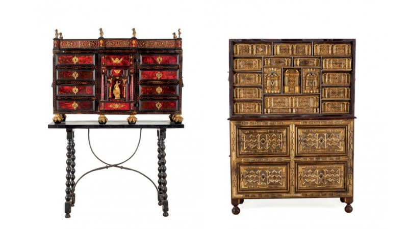 Links: Kabinettschrank im Flamenco-Stil, 19./20. Jh. Rechts: Kabinettschrank aus Walnussholz, Salamanca 17. Jh.