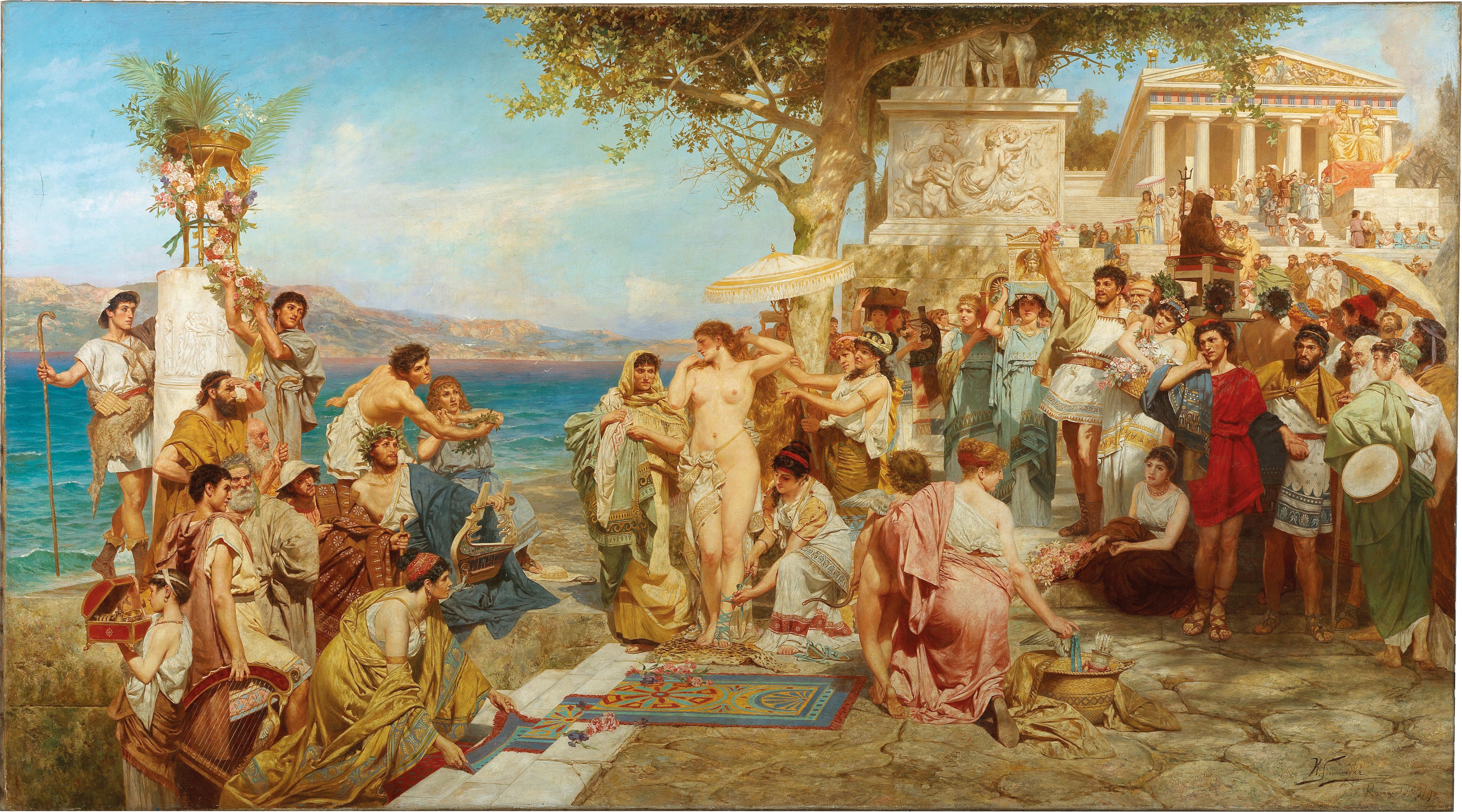 HENRYK SIEMIRADSKI (1843 Nowobelgorod - 1902 Strzałków) Werkstatt - Phryne beim Fest des Poseidon in Eleusis, Öl/Lwd., bezeichnet und datiert, Rom 1889/90