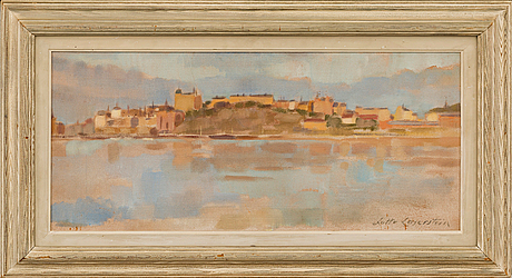 Dieses Werk von Lotte Laserstein stellt eine Ansicht Stockholms an Midsommar dar. Bei Bukowskis erzielte es 20.000 SEK (ca. 2.000 EUR)
