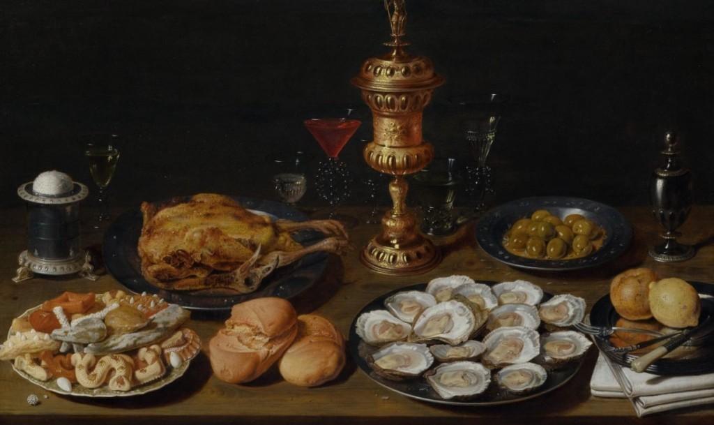 David Rijckaert D.J. (1589 Anvers 1642), Nature morte avec chapon, huîtres, pain, pâtisseries, différents verres et un calice, huile / bois, 65 x 105 cm Estimation: CHF 120000-180000 (EUR 111110-166670)