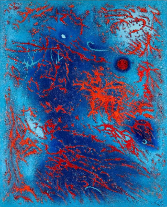 Gustave SINGIER (1909-1984) Néréides animées, 1970 Huile sur toile, signée et datée en bas à droite, contresignée, titrée et datée au dos