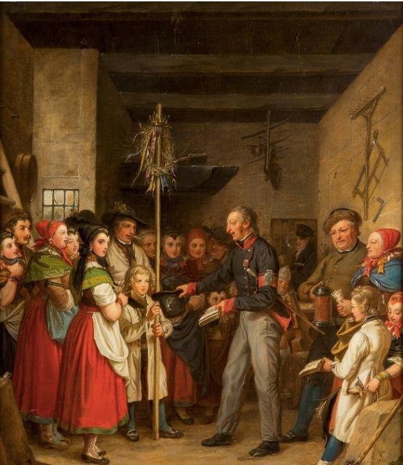 CARL LUDWIG WILHELM TISCHBEIN (1797 Dessau - 1855 Bückeburg) - Erntedankfest, Öl/Lwd., monogrammiert und datiert, 1833