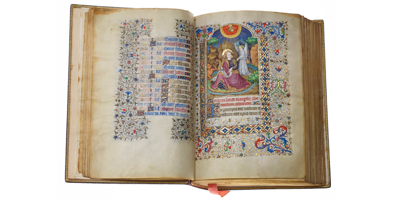 Historiskt viktigt verk från senmedeltiden. Visas hos Les Enluminures.