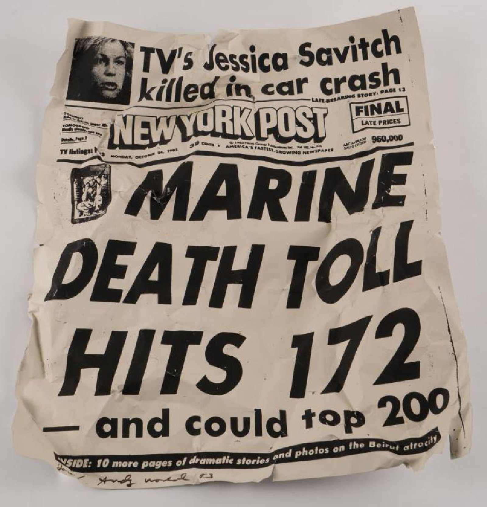 Andy Warhol, New York Post Marine Death Toll Hits 172, synthetic polymer and silkscreen ink on aluminum sheeting. 2 x 24 x 20 inches (approximately). signed Jon/ Andy Warhol '83