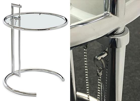 Gauche : Table Eileen Gray, image de représentation, droite : détail du modèle Catawiki