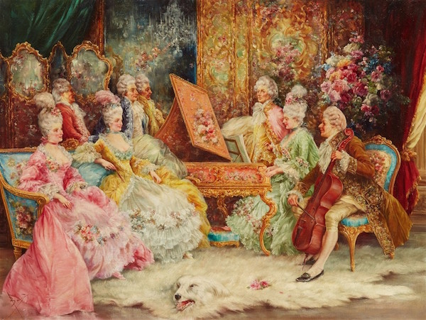 Salvador Sánchez Barbudo (1857 Jerez de la Frontera - 1917 Rom) - Konsert, olja, 60 x 80 cm. Signerad.