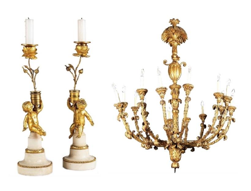 Links: Paar Kerzenleuchter, vergoldete Bronze, Marmor, 2. Hälfte 18. Jh. Rechts: Deckenluster aus Holz, goldgefasst, nachträglich elektrifiziert, Italien um 1800