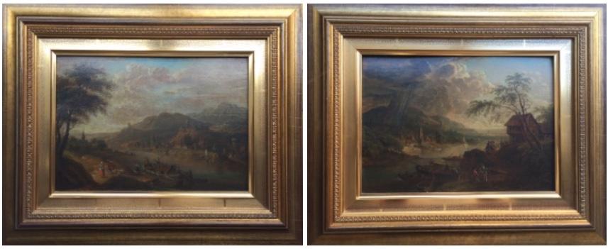 FRANZ SCHÜTZ (1751- 1781) - Ein Paar Rheinlandschaften, Öl/Holz, je 17 x 24,5 cm Limitpreis: 2.500 EUR