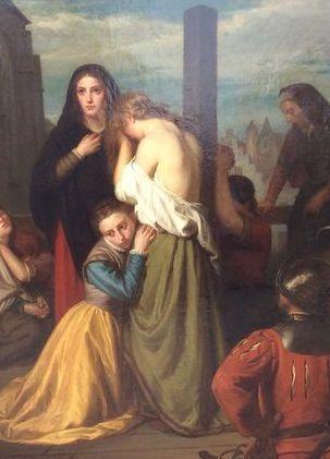 JOSEPH PAUWELS (1819-1876) - Bestraffning av en äktenskapsförbryterska vid St Jacobs kyrka i Gent, olja, 1,80 x 2,30 m, signerad. Startpris: 66 700 - 87 600 kronor. Auktionen avslutas den 14 augusti klockan 20.00.