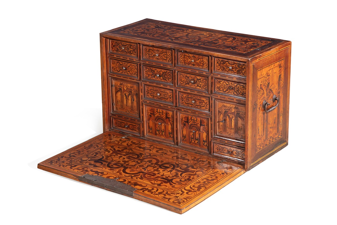 Fine late 17th century German late Renaissance marquetry inlaid walnut table cabinet, probably Augsburg or Nuremberg (est. $15,000-20,000).