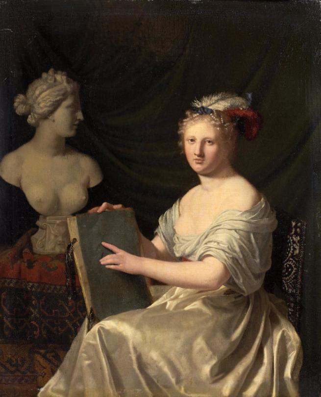 """Horatius PAULIJN (Amsterdam 1644 - 1701), """"Allégorie du dessin"""" Panneau de chêne, une planche, non parqueté 23,3 x 19 cm Estimation: 20 000 - 30 000 €"""