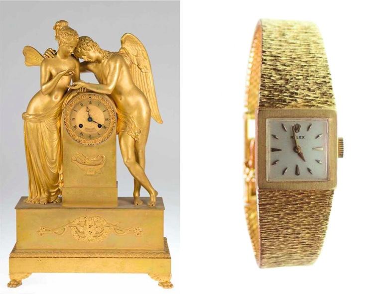 """Links: Pendule """"Amor und Psyche"""", Bronze, Frankreich um 1800 Rechts: ROLEX Damenarmbanduhr aus Gelbgold"""