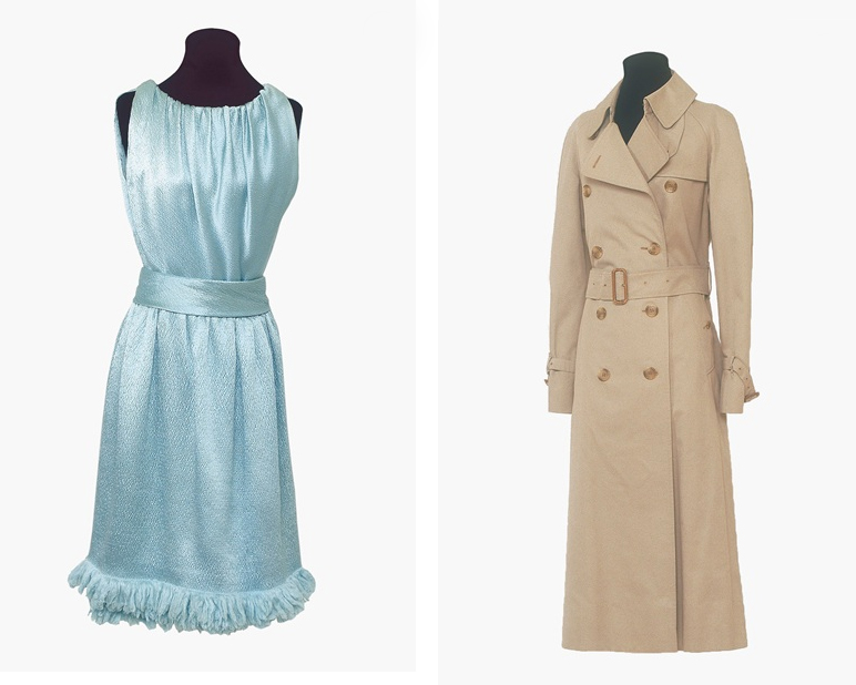 Gauche: Robe en satin bleu par Givenchy. Estimation: 10,000-15,000 £ Droite: Un trench par Burberry. Estimation: 6,000-8,000 £ Image courtesy of Christie's