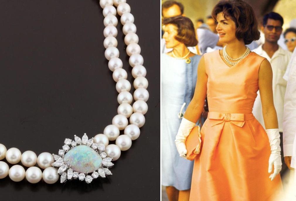 Links: 2-reihiges Kulturperlen-Collier mit Schließe aus WG mit Opal und Diamanten Rechts: Jackie Kennedy auf ihrer Indien-Reise 1962