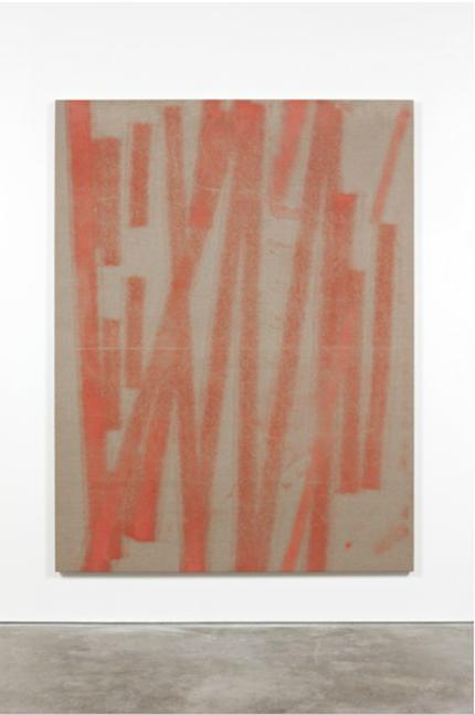 """Fredrik Værslev är representerad av ett av Norges främsta gallerier för samtida konst, STANDARD (OSLO). Verket """"Untitled""""från 2015 är målad med sprayfärg på duk som är uppklistrad på träpannå"""