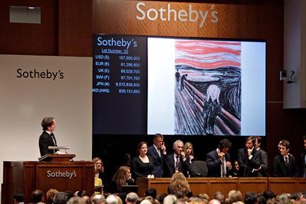 """En av Edvard Munchs versioner av """"Skriet"""" som klubbades för närmare en miljard kronor härom året hos Sotheby´s"""