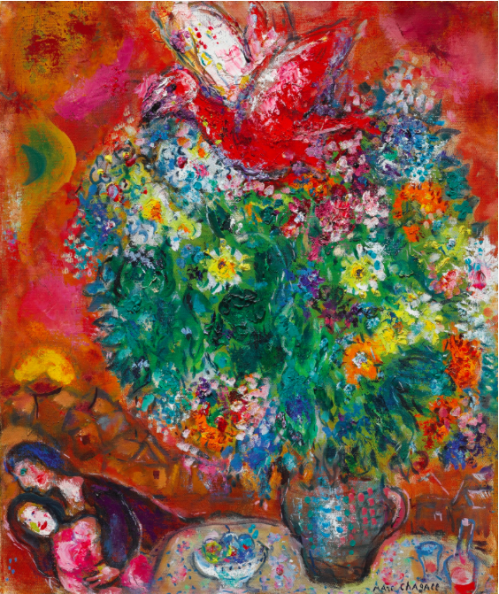 """MARC CHAGALL """"Fleurs et Amoureux"""" 9 260 000 SEK. Sotheby's"""