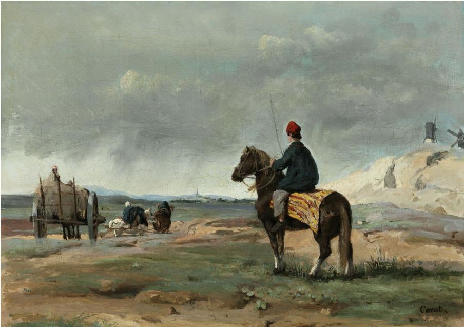 JEAN-BAPTISTE CAMILLE COROT (1796 Paris 1875) - Le fermier de Pithiviers, Öl/Lwd., signiert, um 1840