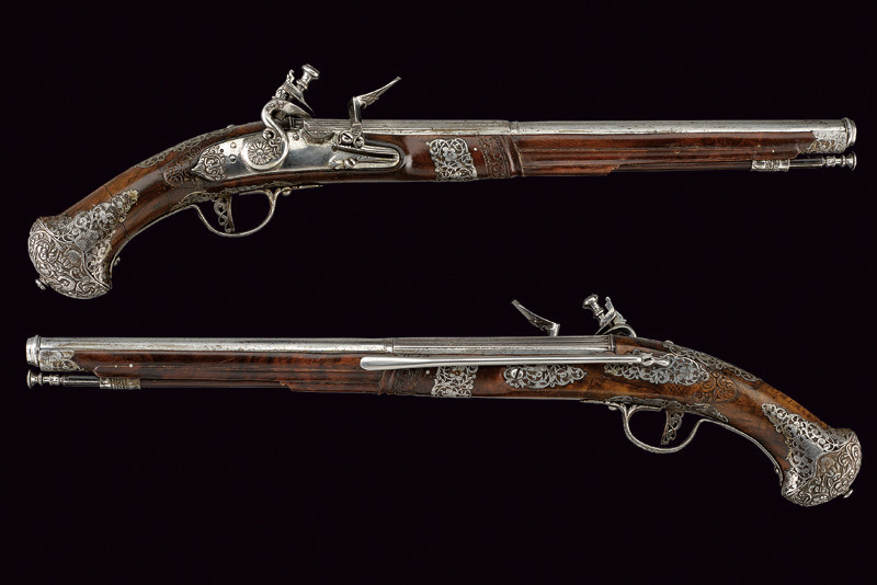 """Pair of Steinschloss pistols with master stamp """"BP"""", Tuscany, 17th century"""